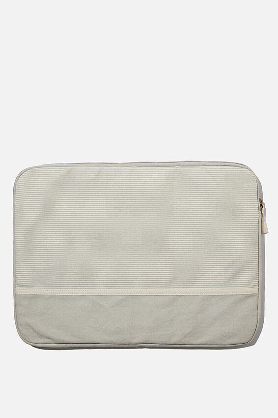 Canvas 15 Inch Laptop Case, LIGHT GREY NEUTRAL STRIPES