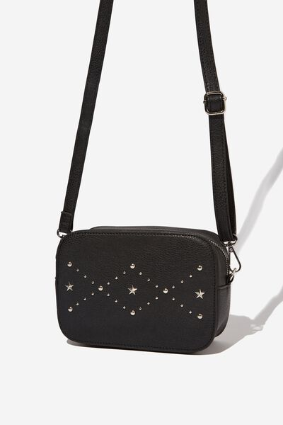 City X-Body Bag, BLACK WITH STAR PATTERN