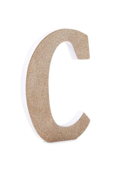 Glitter Letterpress Letter, GOLD GLITTER C