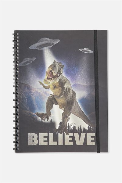 A4 Spinout Notebook - 120 Pages, T REX BELIEVE