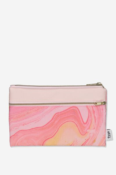 Archer Pencil Case, PINK MARBLE