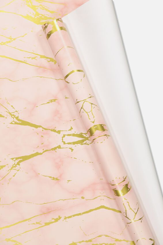 Roll Wrapping Paper, MARBLE PINK GOLD