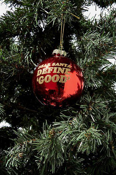Small Glass Christmas Ornament, BAUBLE DEAR SANTA
