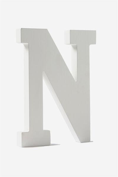 Letterpress Wooden Letter, WHITE N