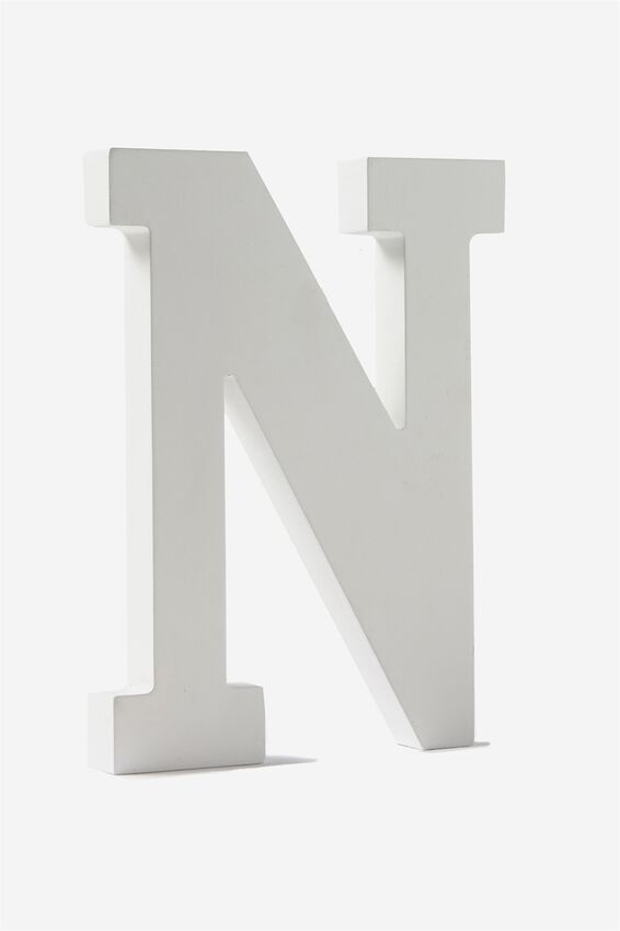Letterpress Wooden Letter, WHITE N