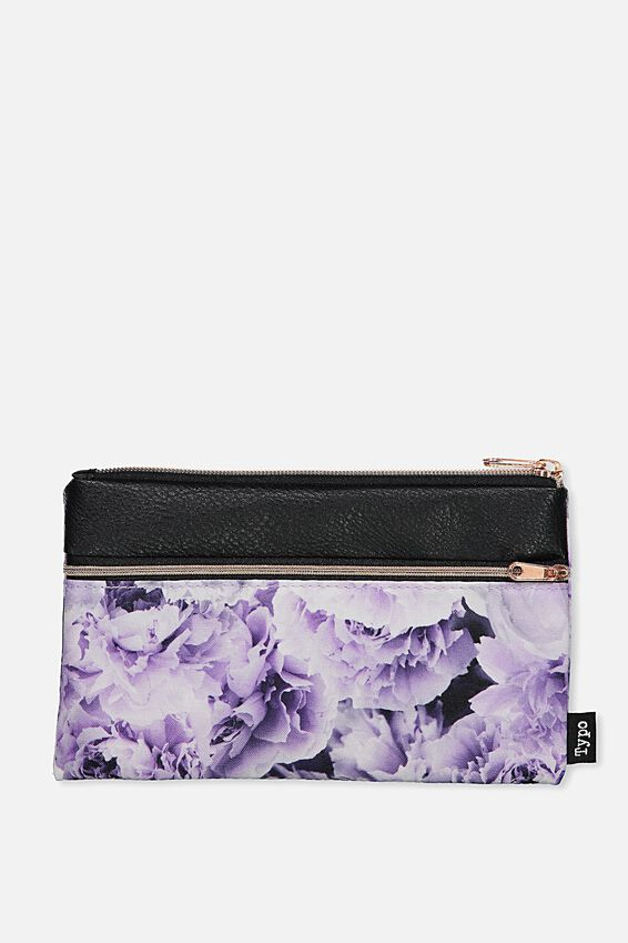 Archer Pencil Case, LILAC PEONIES