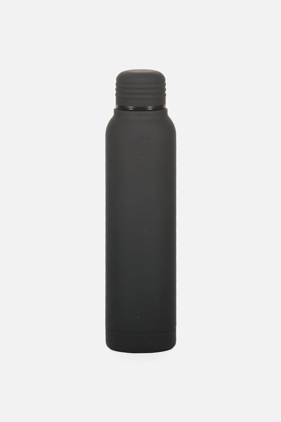 Small Metal Drink Bottle, BLACK RUBBER