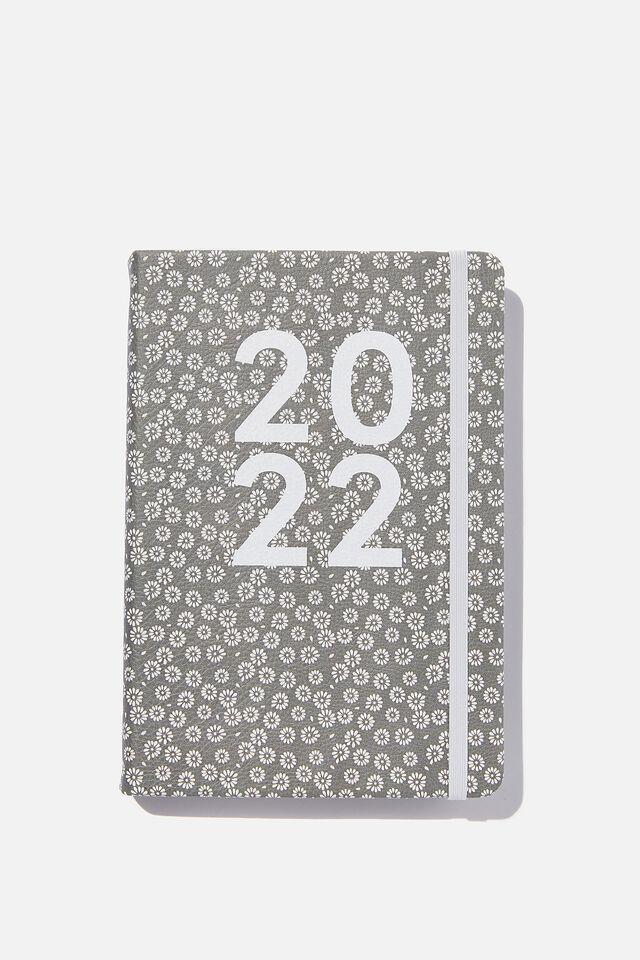 2022 A5 Daily Buffalo Diary, STAMPED DAISY GREYSCALE