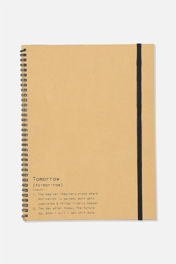 A4 Spinout Notebook Recycled, TOMORROW