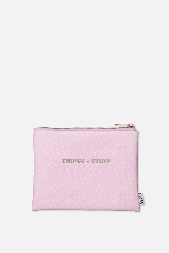 Pu Campus Pencil Case, LILAC POLKA STUFF AND THINGS