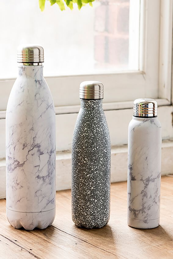1L Metal Drink Bottle, BLACK & WHITE MARBLE