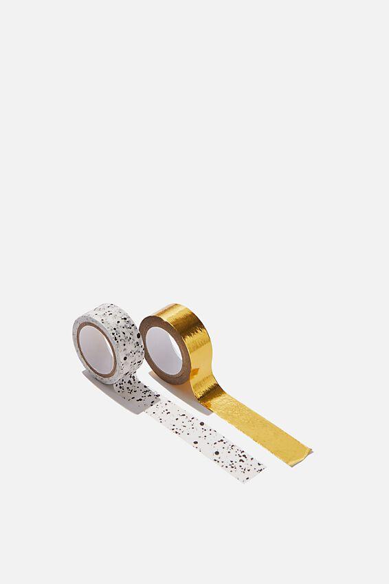 Washi Tape 2Pk, SPLATTER & GOLD