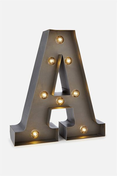 Small Marquee Letter Lights 23cm, SILVER A