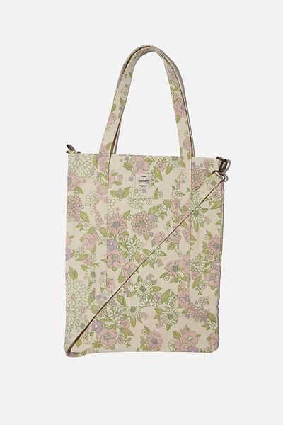 Book Tote Bag, MINT PINK MOLLY FLORAL