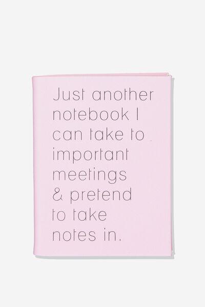 A5 Hidden Spiral Notebook, PRETEND NOTES PINK