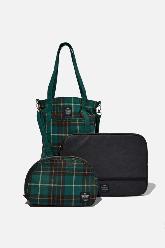 Commuter Gift Set, DEEP GREEN FLANNO CHECK