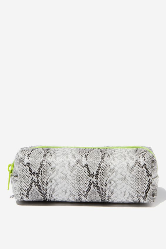 Bailey Pencil Case, SNAKESKIN NEON ZIP