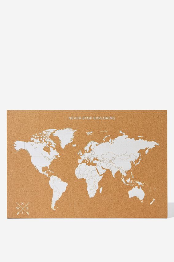What A Corker Cork Board, WHITE & GOLD MAP
