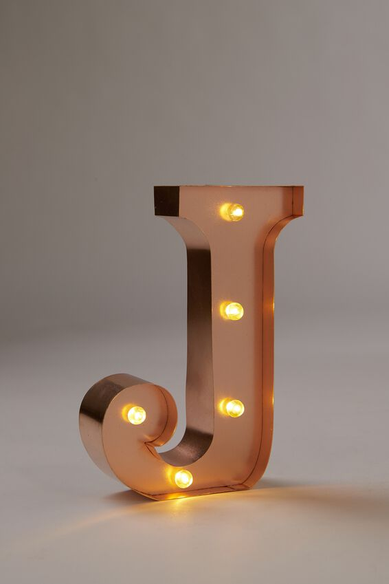Marquee Letter Lights Premium 16cm Midi, ROSE GOLD J