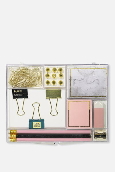 Acrylic Stationery Set, GOLD MARBLE!
