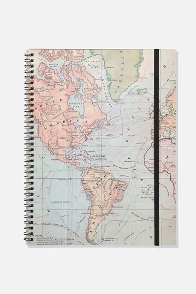 A4 Spinout Notebook - 120 Pages, WORLD MAP GREY