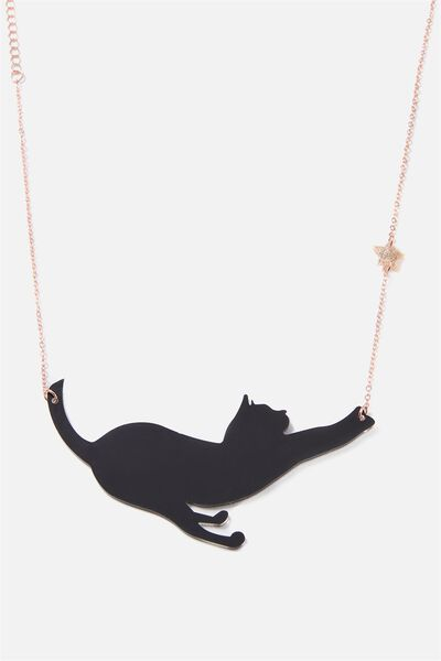 Premium Novelty Necklace, BLACK MAGIC CAT