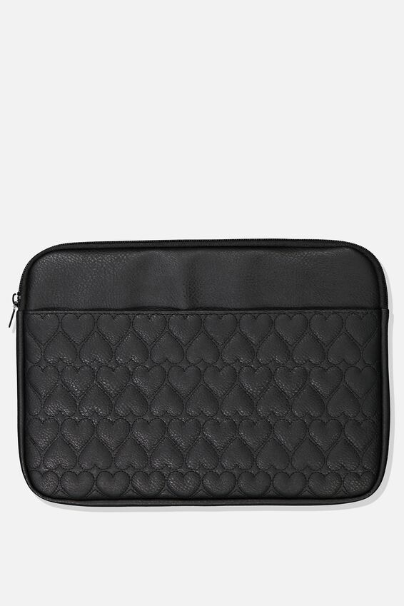 Take Charge Laptop Cover 13 inch, BLACK QUILTED HEARTS