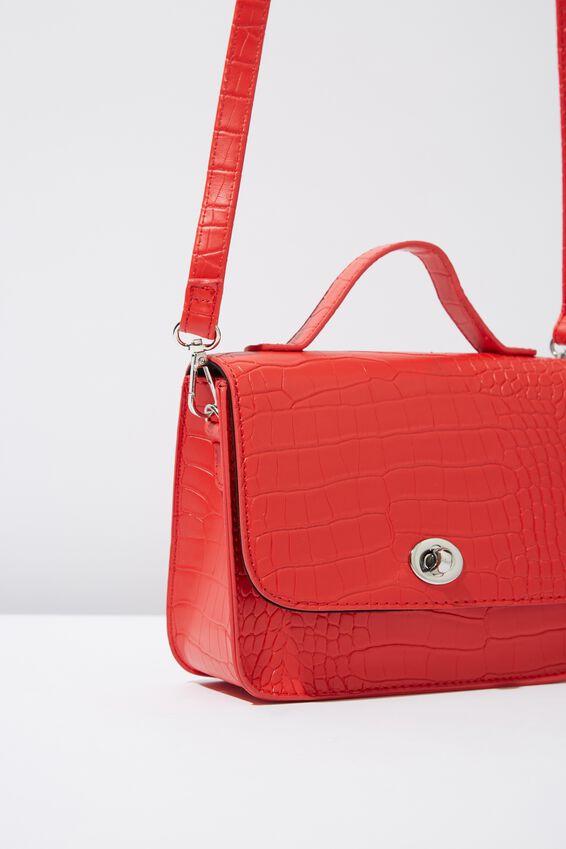 Mini Turnlock Satchel Bag, RED CROC