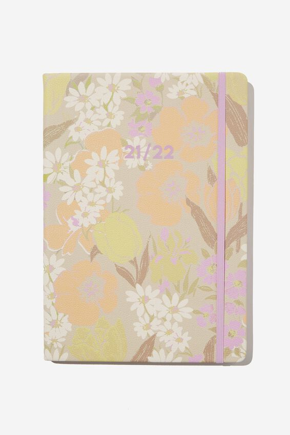 2021 22 A4 Weekly Buffalo Diary, SAND GOLDIE FLORAL
