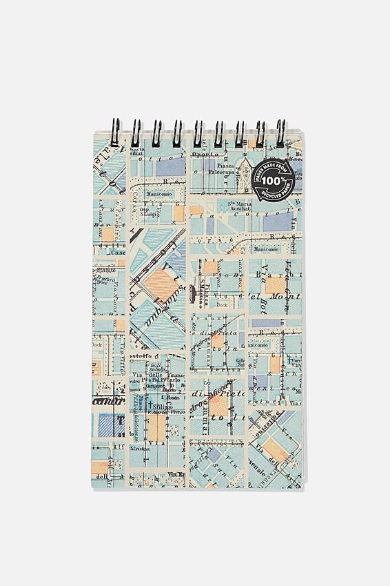 Flipout Notepad Recycled, BLUE GRID MAP