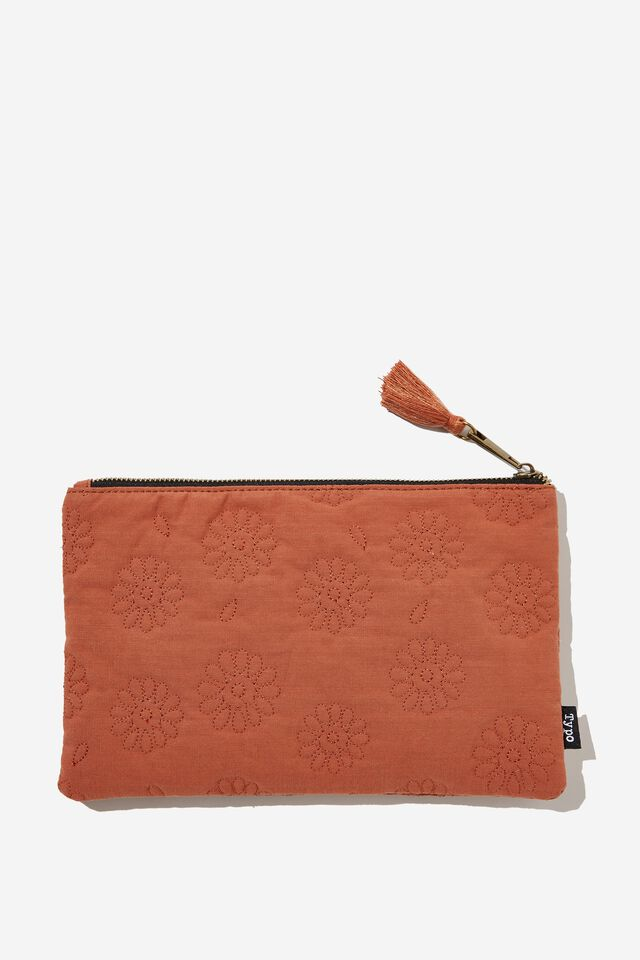 Cottage Pencil Case, RUST DAISY QUILTED