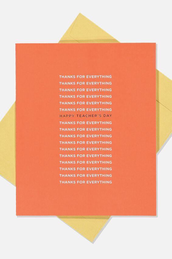 Teacher Card, THANKS FOR EVERYTHING