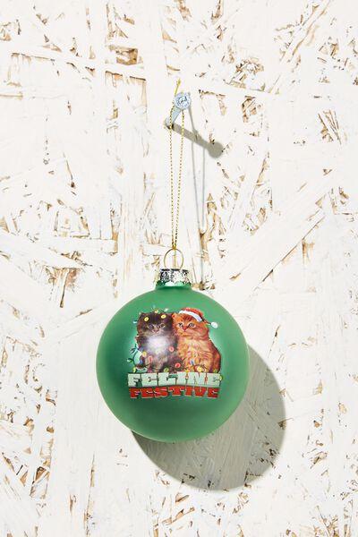 Small Glass Christmas Ornament, FELINE FESTIVE BAUBLE