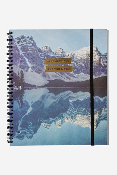 College Ruled Spinout Notebook V, SAVE CASH TRAVEL WORLD