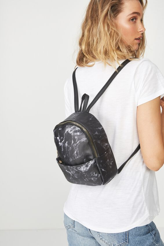Mini Cairo Backpack, BLACK MARBLE