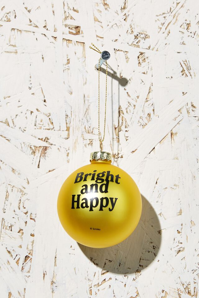 Small Glass Christmas Ornament, LCN SMI SMILEY YELLOW FACE