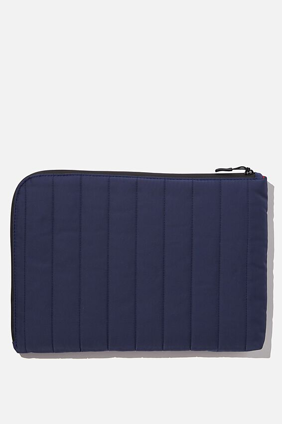 Utility Recycled 13 Inch Laptop Case, NAVY & RED