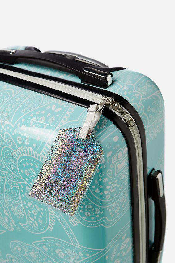 Glitter Filled Luggage Tag, SILVER GLITTER