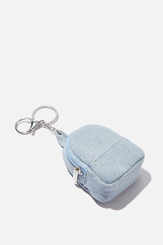 Bag Charm, PLUSH CHAMBRAY MINI BACKPACK