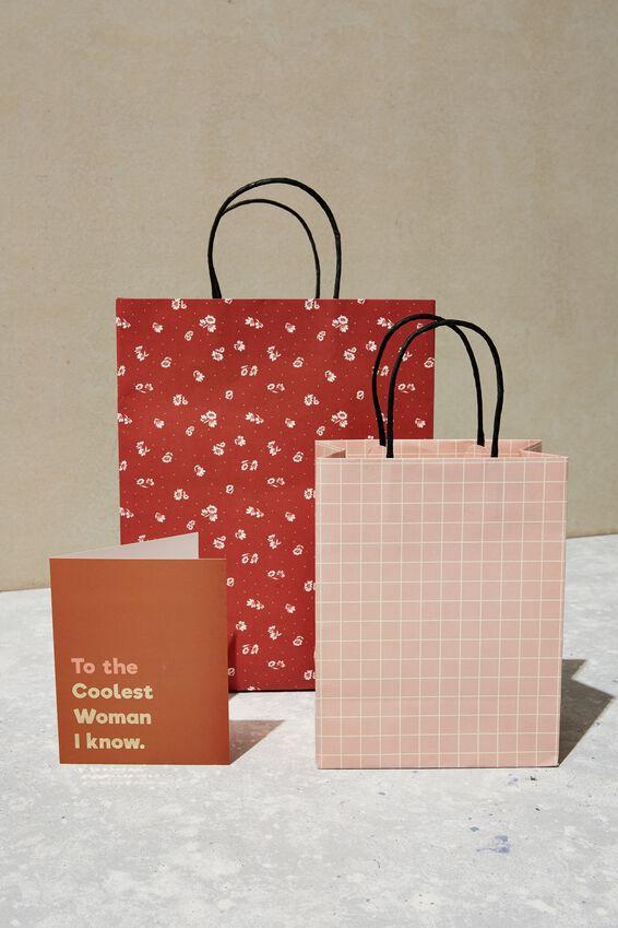 Get Stuffed Gift Bag - Medium, PINK WHITE GRID