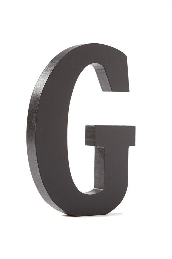 Letterpress Wooden Letter, BLACK G