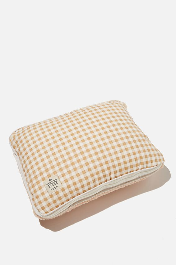 Convertible Cushion Throw, DRIFTWOOD GINGHAM FLEECE
