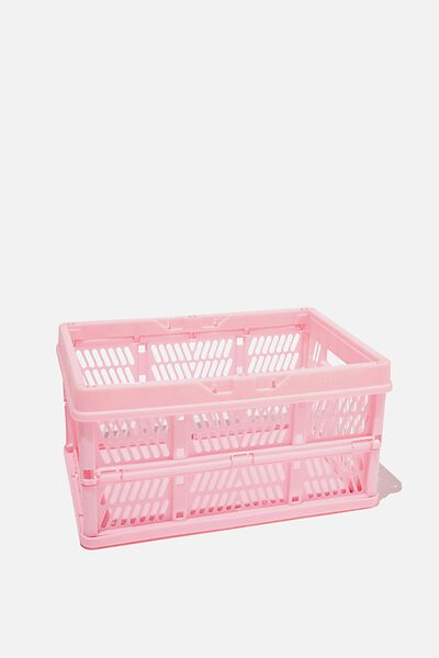 Small Foldable Storage Crate, PLASTIC PINK