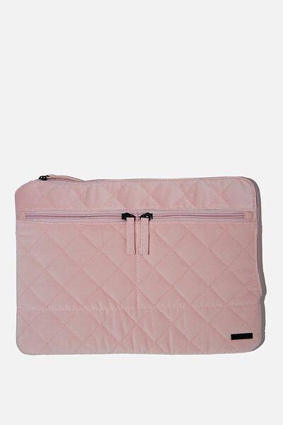 Velvet Oxford 13 Inch Laptop Case, PALE PINK