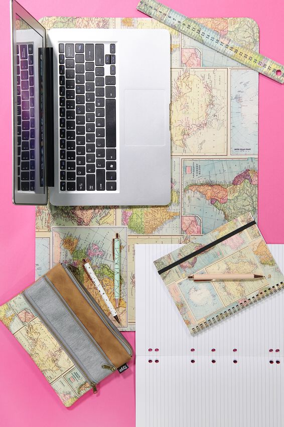 Double Archer Pencil Case, MAP GREY MARLE