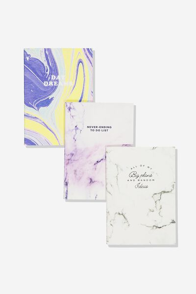 3Pk A6 Notebooks, MARBLE QUOTES