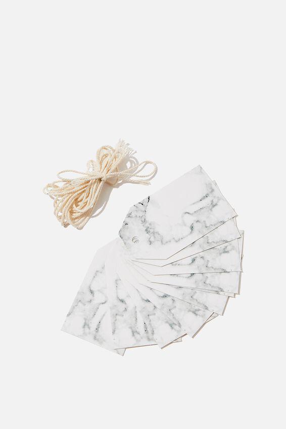 Gift Tags Set 10, MARBLE WHITE BLACK