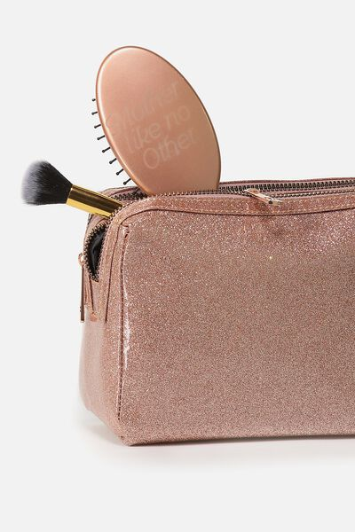 Dual Zipper Cosmetic Case, ROSE GOLD GLITTER
