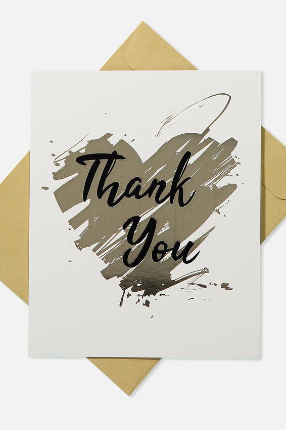 Thank You Card Pack 10, GOLD HEART