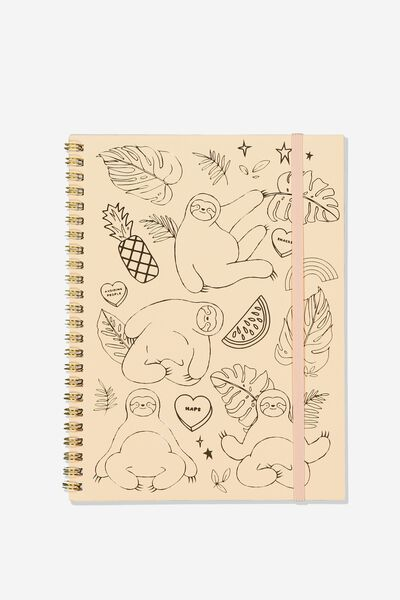 A5 Spinout Notebook Recycled, SLOTH LIFE